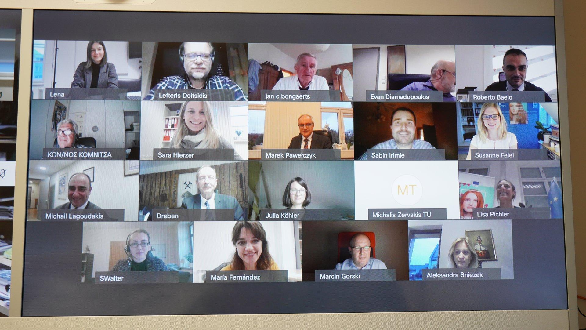 Das Kick-off-Meeting mit vielen internationalen Teilnehmerinnen und Teilnehmern fand virtuell statt. (Copyright: Montanuni Leoben)