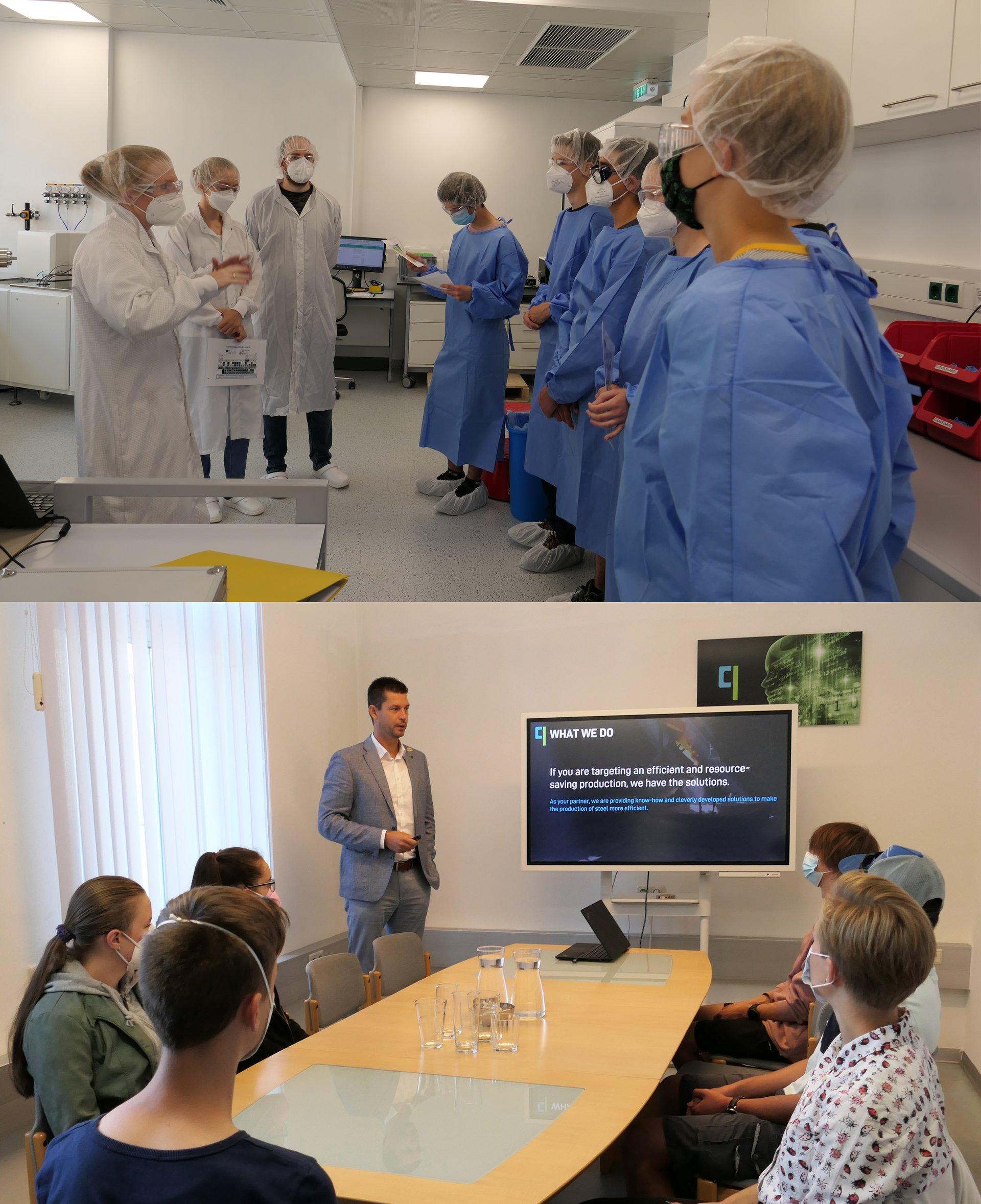 Schülerinnen und Schüler besuchten das Chemielabor an der Montanuniversität Leoben (oben), bei der Firma qoncept dx GmbH erhielten sie einen Einblick ins Berufsleben (unten). Copyright - RIC Leoben